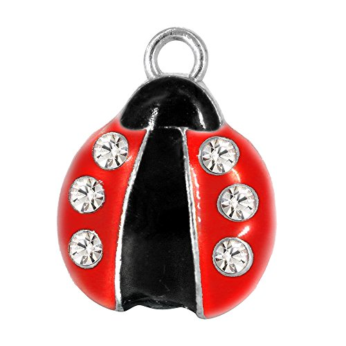 Red Ladybug Charm - M185-E Cute Insect Red Ladybug Beetle Crystal Charms Pendant Wholesale (10 pcs)