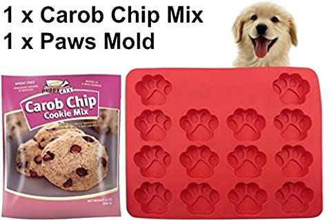 Dog Paws Mold Treat Kit | Silicone BPA Free Cake Pan for Dog Cupcakes and Treats 10 x 12 inch | Carob Chip Cookie Mix (Wheat-Free) Tastes Like Chocolate - Simply Delicious Muffins