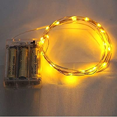Christmas Lights - eTopxizu 7ft 20 LEDS Yellow Starry Lights Fairy Lights Ultra Thin String Copper Wire LED Light Strings AA Battery Powered
