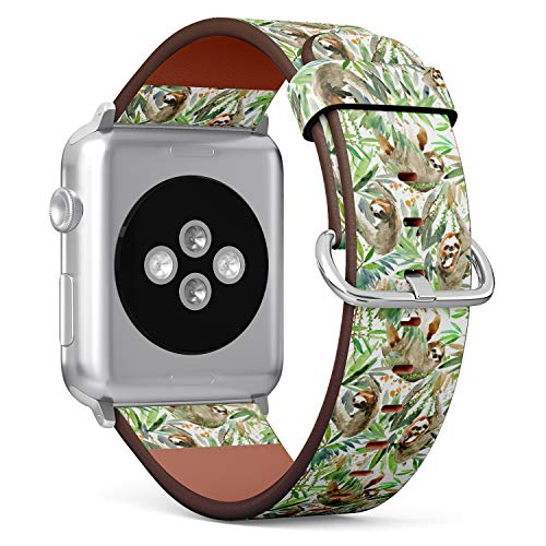 ((Watercolor Sloth and Tropical Leaves) Patterned Leather Wristband Strap for Apple Watch Series 4/3/2/1 gen,Replacement for iWatch 38mm / 40mm Bands)