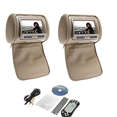 Beige Tan-7 Inch Headrest Monitor Pillow Dual Screen Car DVD Player Support...