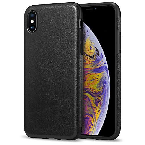 TENDLIN Compatible with iPhone Xs Max Case Premium Leather Outside and Flexible TPU Silicone Hybrid Slim Case Compatible with iPhone Xs Max - 2018 (Black)