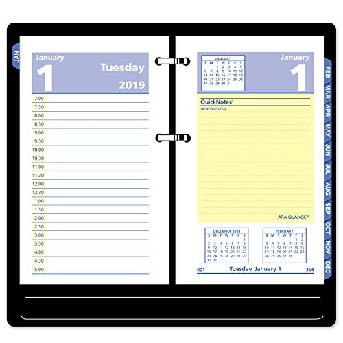 AT-A-GLANCE 2019 Daily Desk Calendar Refill, QuickNotes, 3-1/2