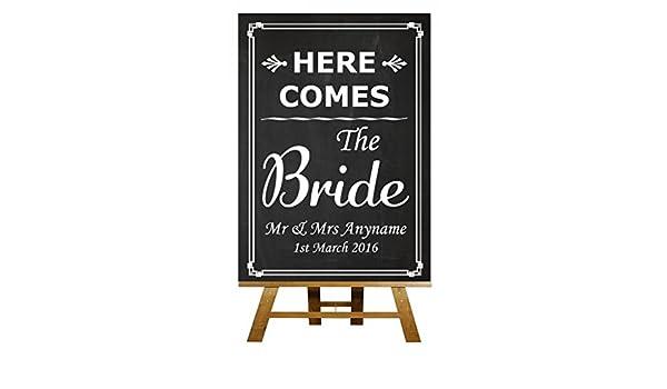 A3 Vintage pizarra aquí viene la novia boda cartel: Amazon ...