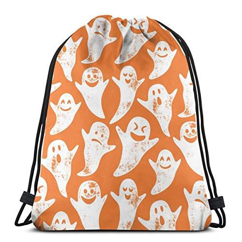 Ghost On Orange - Halloween_17466 3D Print Drawstring Backpack Rucksack Shoulder Bags Gym Bag for Adult -