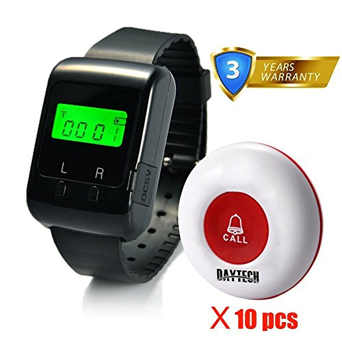 Caregiver Pager Wireless Calling System for Elder Restaurant Nursing Home with 1PC Wearable Watch Receiver and 10PCS Waterproof Call Buttons by Daytech