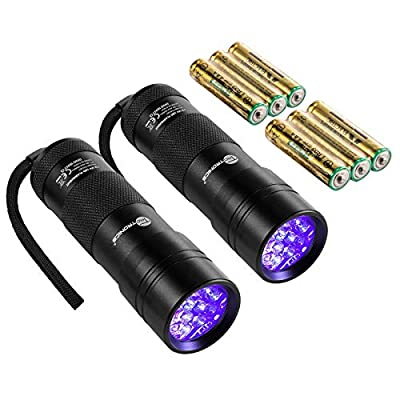 TaoTronics Black Light, 12 LEDs 395nm UV Blacklight Flashlights Detector for Dry Pets Urine and Stains with 3 Free AAA Batteries by TaoTronics