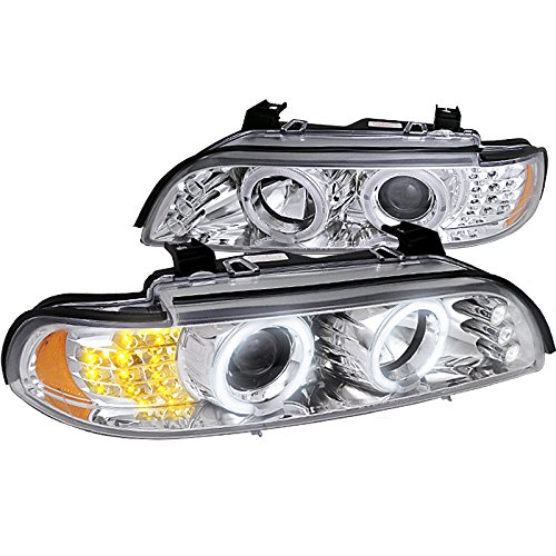 E39 5 Series Led Tail (Spec-D Tuning 2LHP-E3997-8V2-TM Bmw 5-Series Led Corner Chrome Clear Projector Head Lights)