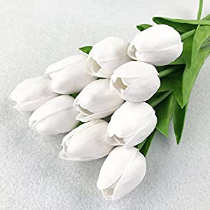 """Silk Flower Arrangements 10pcs White 14"""" Artificial Tulips Flower Real-Touch Fake Tulips for Party Home Decoration"""