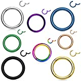 TOPBRIGHT 8pcs Seamless Septum Rings Clicker 16G Stainless Steel Hinged Segment Rings for Daith and Lip Piercing (6 mm)