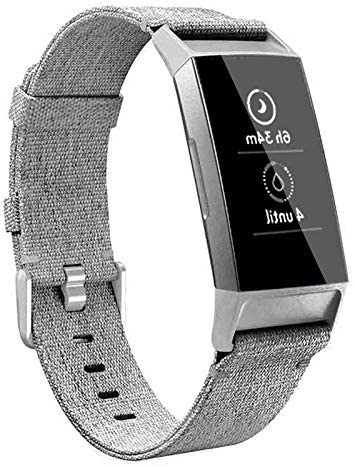 hooroor Canvas Woven Band Compatible for Fitbit Charge 4 / Charge 3 Bands and Charge 3 SE Band, Soft Breathable Fabric Cloth Replacement Wristbands Sports Accessories Small Large for Women Men 1