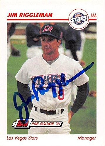 Jim Riggleman Autographed Baseball Card Las Vegas Stars