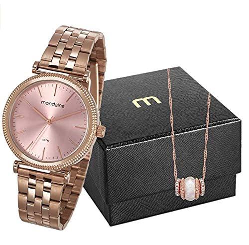 KIT Relógio Analógico Feminino Mondaine + colar, 53722LPMVRE1K1