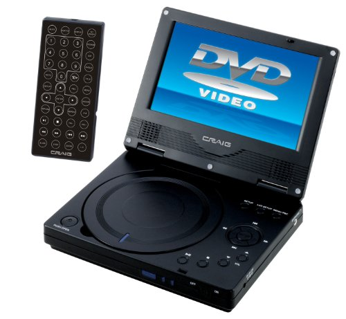 Craig 7-Inch Portable DVD/CD Player with Remote, Black
