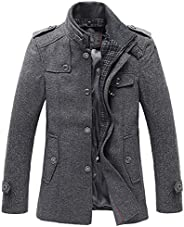 Chouyatou Men's Stand Collar Wool-Blend Classic Pea Coat with Removable Inner Co