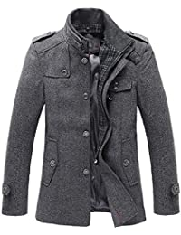 Men's Stand Collar Wool-Blend Classic Pea Coat with Removable Inner Collar