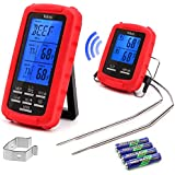 Veken EN-2050 Wireless Digital Meat Thermometer Remote for Grilli Smoker BBQ, red
