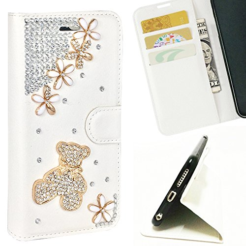 [ HTC DESIRE 610 ] Handmade 3D Diamond Bling Card Holder Folio Leather Wallet Case ( Black Roses )