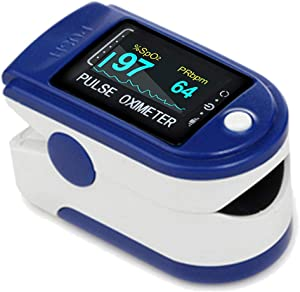 Easy@Home Fingertip Pulse Oximeter, Rotatable OLED Display to Show Waveform, SpO2 Blood Oxygen Saturation, Bar Graphs and Heart Rate Monitor, Co-branding-CMS50DA