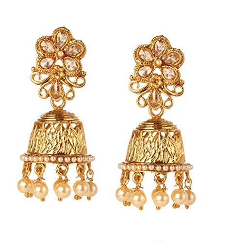 Bindhani Indian Jewelry Bollywood Faux Pearl Kundan Wedding Jhumka Jhumki Earrings For Women ()