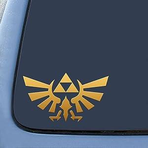 "Legend of Zelda - Triforce Wings - Vinyl 4"" Wide (Color: GOLD) decal laptop tablet skateboard car windows stickers"