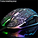 VEGCOO C10 Wireless Gaming Mouse Rechargeable Silent Optical Mice 7 Colors LED Lights, 7 Buttons 2400/1600/800DPI (Black)