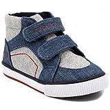 Nautica Kids Rig Canvas Velcro Sneaker Fashion Shoe Boot Like High Top -Denim/Grey-7