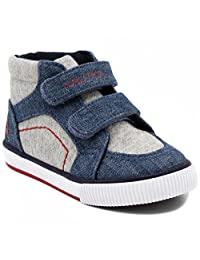 Nautica Kids Rig Canvas Velcro Sneaker Fashion Shoe Boot Like High Top (Toddler/Little Kid)
