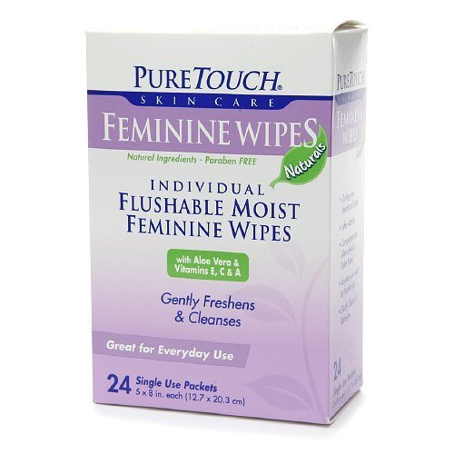 PureTouch Feminine Wipes Naturals for Adults Individual Flushable Moist Wipes 144 Single-Use-Packets