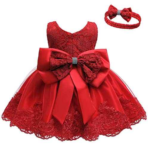 Baby Holiday Dresses (LZH Baby Girl Sleeveless Lace 3D Flower Tutu Holiday Princess Dresses Red, 6M(3-6)