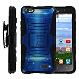 TurtleArmor | Huawei Raven Case LTE | H892L [Hyper Shock] Exclusive Combo Hybrid Armor Holster Belt Clip Case Hard Shell Kickstand Silicone Alien and UFO Series - Blue Technology