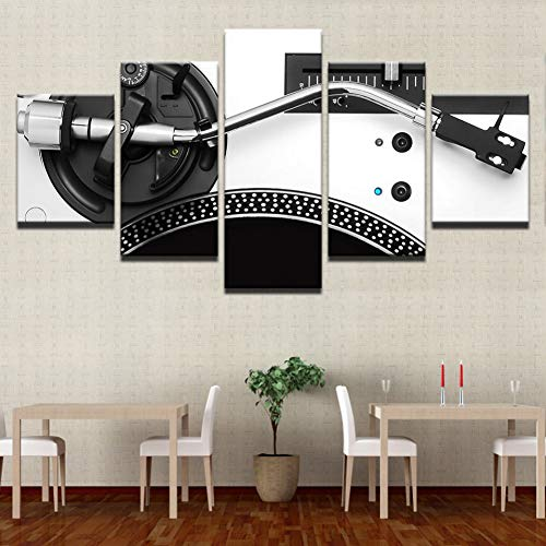 SHUII Framed Contemporary Wall Art Paintings for Bedroom DJ Mixer Pictures Turntable Playing 5 Panel Canvas Pictures Party Decorations 20x35cm20x45cm 20x55cm