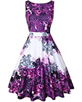 OWIN Women's 1950s Vintage Floral Swing Party Cocktail Dress with Butterfly Pattern (M, Mild Purple)