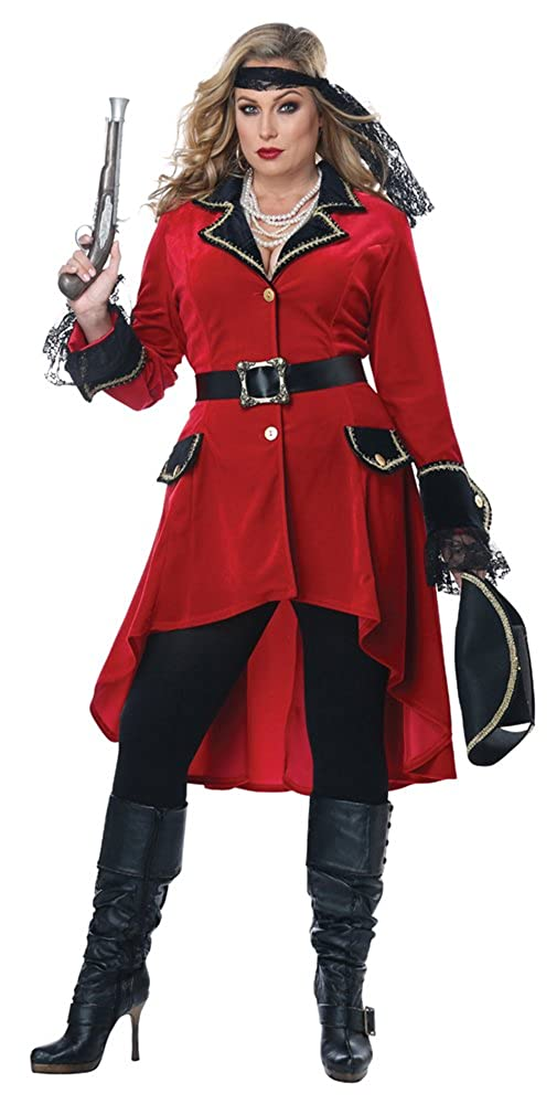 Women's High Seas Heroine Red Pirate Costume Coat (Coat Only - Plus Size) - DeluxeAdultCostumes.com