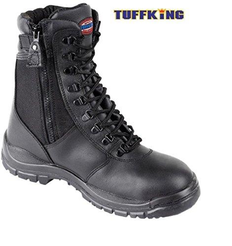 6 acero trabajo en 1 Boot cremallera de UK4 con UK el seguridad de nbsp;Tuffking Pierna punta Negro nbsp;– nbsp;13 botas 9108 xHX1vqxw