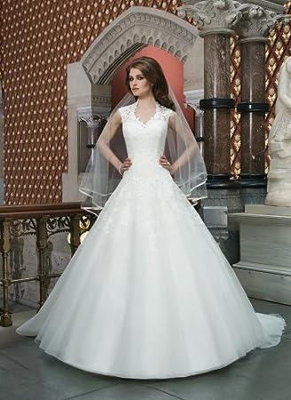 Amazon.com: Una línea Slim de encaje tul vestidos de novia ...