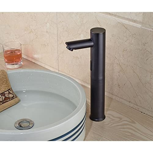 low-cost Beati Faucet Modern DC Power Touch-Free Automatic Bathroom Deck Mount Vessel Sink Sensor Faucet Only Cold Mixer Tall Spout Faucet, Oil Rubbed Bronze