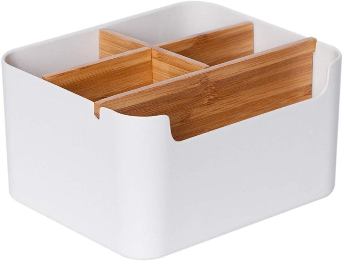 Office Supply Organizer Desk Top Storage Box White Storage Organizer (S)