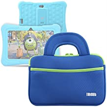 """TabSuit 7"""" Dragon Touch Y88X/M7 Kids Tablet, KingPad K77 Tablet Ultra-Portable Neoprene Zipper Carrying Sleeve Case Bag with Accessory Pocket- Blue"""