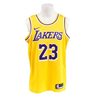 851a57056137 NIKE Men s Los Angeles Lakers Lebron James 2018-19 Icon Edition Swingman  Jersey Small Gold