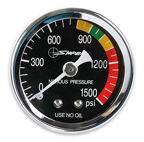 NOS/Nitrous Oxide System 15932NOS Sniper Nitrous Pressure Gauge 1.5 in. Dia. Black Dial Face w/White Needle 0-1500 psi Dry Gauge 1/8 in. NPT Inlet Threads Sniper Nitrous Pressure Gauge