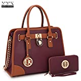 MMK Collection Fashion Pad-lock Satchel handbags with wallet~Designer Purse for Women ~Multi Pocket ~ Perfect Women Purse and wallet~ Beautiful Designer Handbag Set(6892W-PP)
