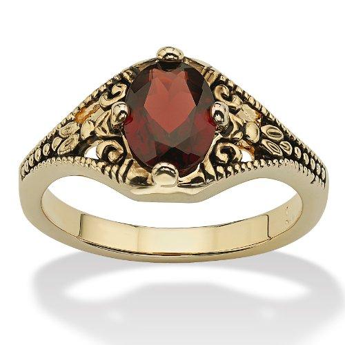 Garnet Vintage Bands (14K Yellow Gold-plated Antiqued Oval Cut Genuine Red Garnet Vintage-Style Ring Size 6)