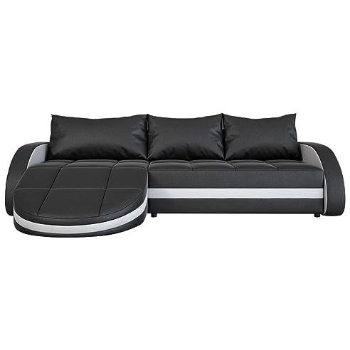 Eck Sofa Schwarz Weiß In Leder Optik: Edle Designer Couch Mit LED