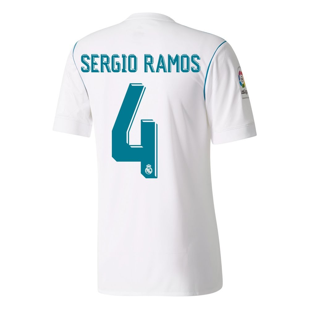 e239fb4f940 Player Print - adidas Performance Real Madrid KIDS Home Sergio Ramos 4 LFP Shirt  2017 2018 (Official Printing) - S/128cm: Amazon.co.uk: Sports & Outdoors