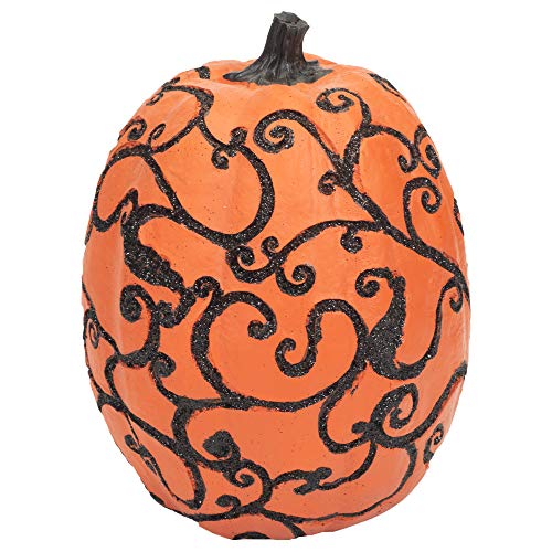 Boston International Decorative Pumpkin with Halloween Vine Scroll Accents, Tall -