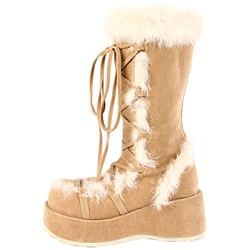 Demonia Door Pleaser Womens Cubby-311 Boot Camel Veg Suede