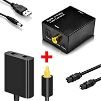 EEEKit Toslink Digital Optical Fiber Optic Splitter 1 in 2 Out Audio Adapter and Digital Coax to Analog RCA Audio Converter Adapter with Fiber Cable