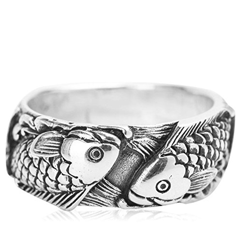 Beydodo Mens Silver Ring, Pisces Ring Size 9 Mens Rings Hip Hop by Beydodo