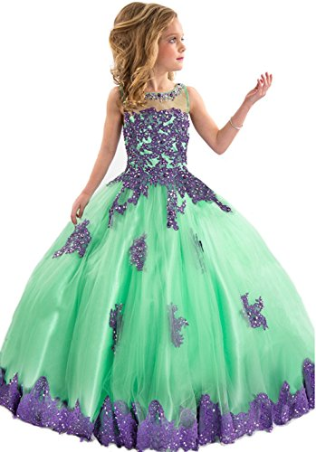 BFB Big Girls' Ball Gown Flower Appliques Wedding Pageant Dresses (6, Green (Girls Pageant Dress Size 6)